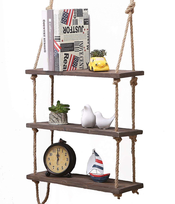 Mensole Da Parete Cucina scaffale da parete in legno massello, mensole con corda, da