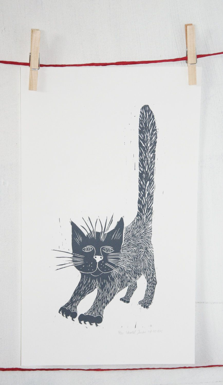 The Grey Linocut Cat - hetrodehuis on Etsy