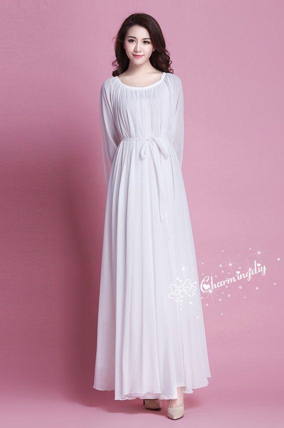 60 Colors Chiffon White uAutumn Long Sleeve Party Big Hem Dress ...