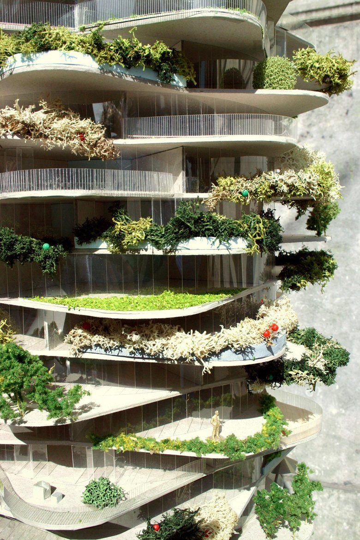 Urban cactus picture gallery zoom de fachadas pinterest architektur hochhaus y gr ne - Grune architektur ...