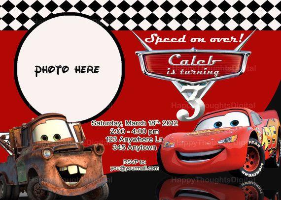 Pixar Cars Lightning McQueen Invitation Digital DIY Print It