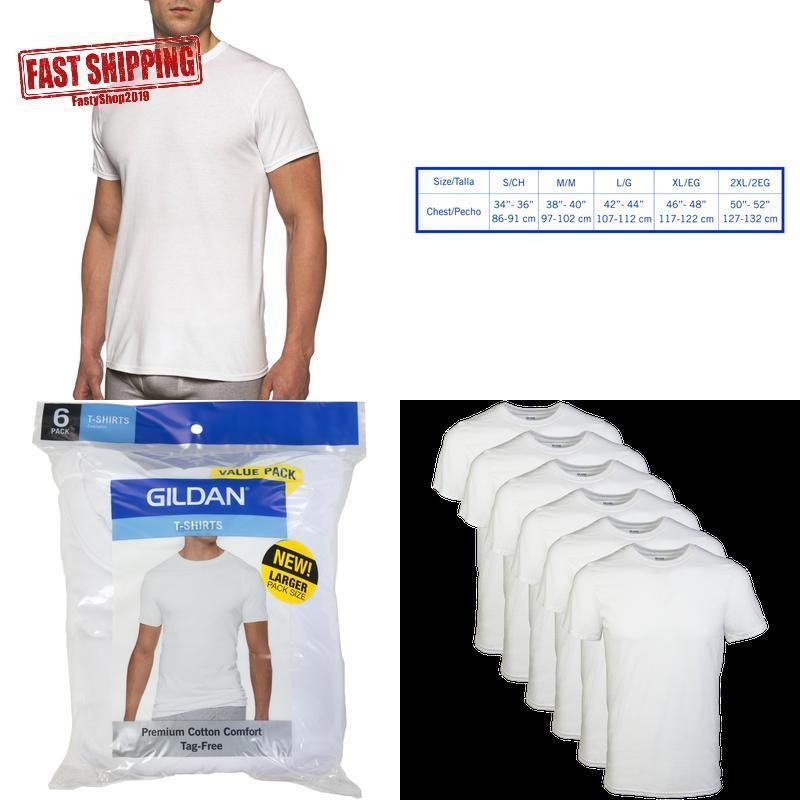 2e7f7124 Gildan Men'S Short Sleeve Crew White T-Shirt 6-Pack #fashion #clothing  #shoes #accessories #mensclothing #shirts (ebay link)