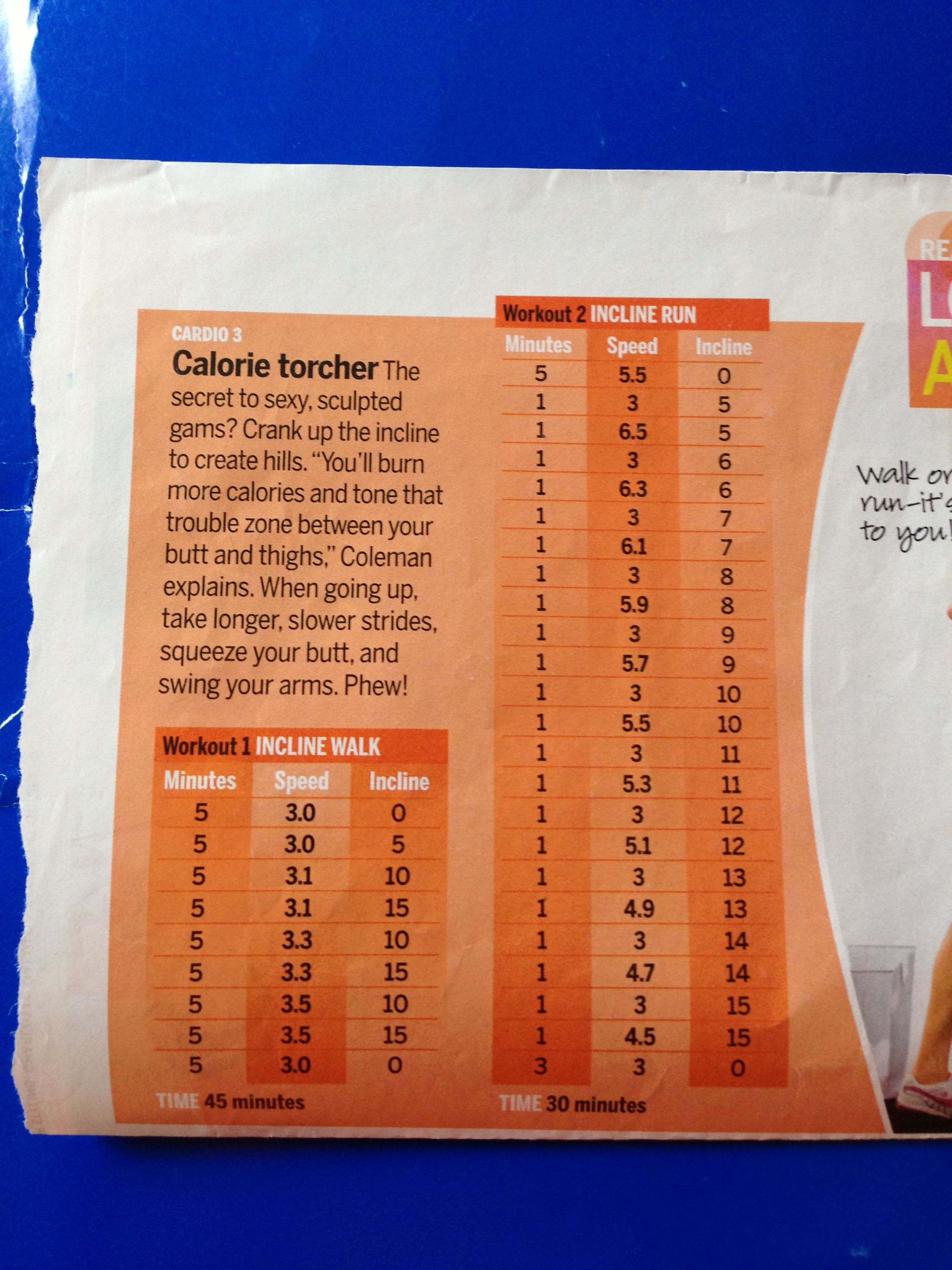 Self Magazine treadmill workout