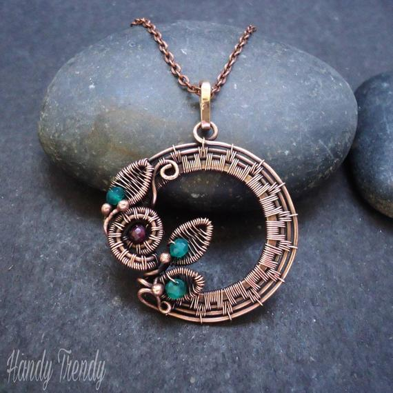 Wreath Necklace Copper Wire Wrapped Jewelry Garnet And Turquoise