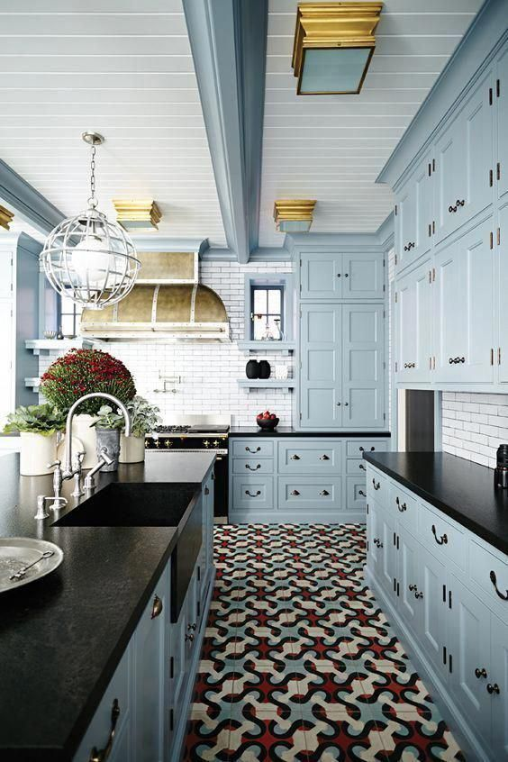 Your kitchen cabinets do not have to be white! Explore 23 gorgeous blue kitchen cabinet ideas and see the suggested blue kitchen cabinet paint colors. #kitchencabinets