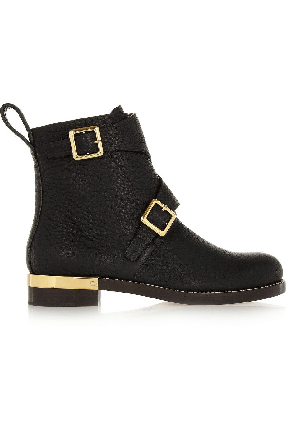 Chloé|Textured-leather ankle boots|NET-A-PORTER.COM