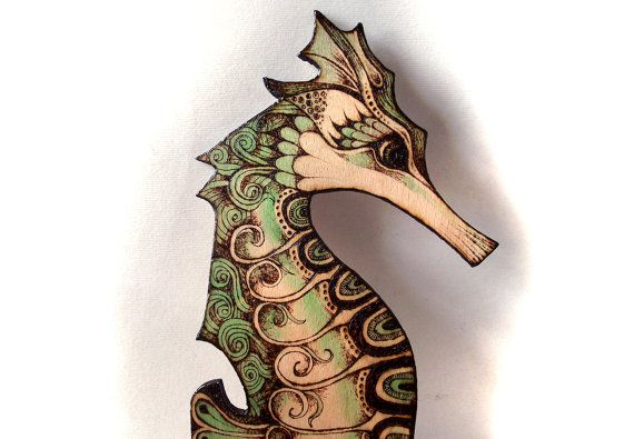 Charming Seahorse Wall Hanging Pyrography Wood Burning Wood By FluffyFenris