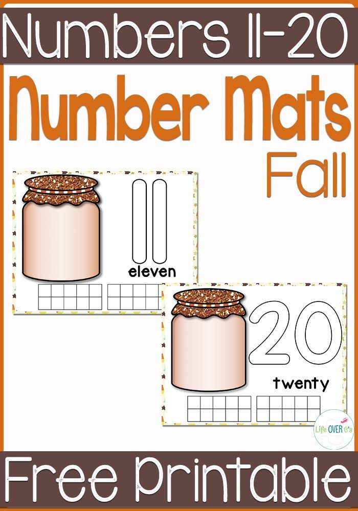 Free Fall Counting Mats for Numbers 11 to 20 | Math, Activities and ...
