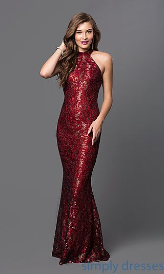 TW-4221 - Floor Length Racer Front Sequin Lace Formal Gown | Dress ...