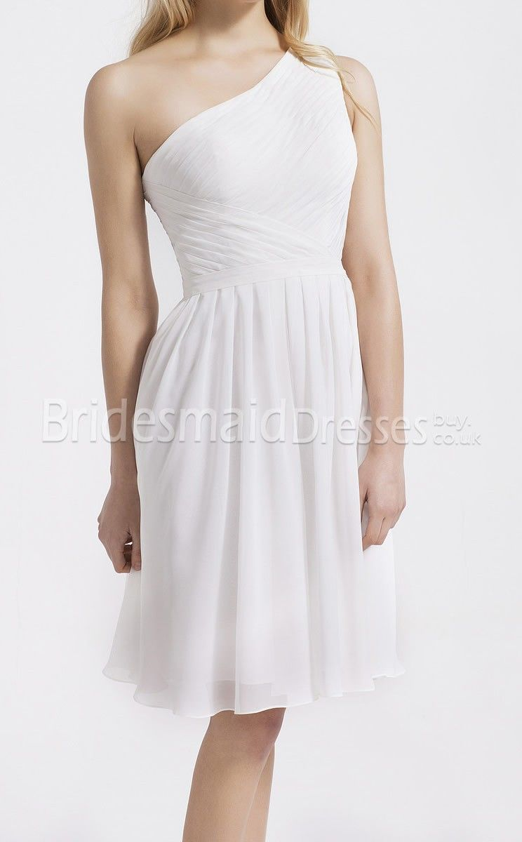 Cheap White Chiffon A-line One Shoulder Knee-length With Criss Cross Little White Dresses(UKBD03-066) - BridesmaidDressesBuy.co.uk