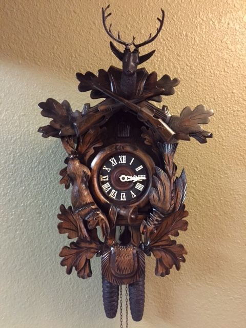 large black forest cuckoo clock day hunters deer head guns  large black forest cuckoo clock 8 day hunters deer head guns