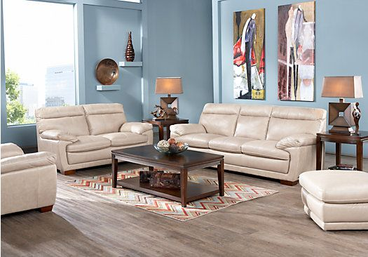 Cindy crawford home casa moderna beige 3 pc living room for Casa moderna living