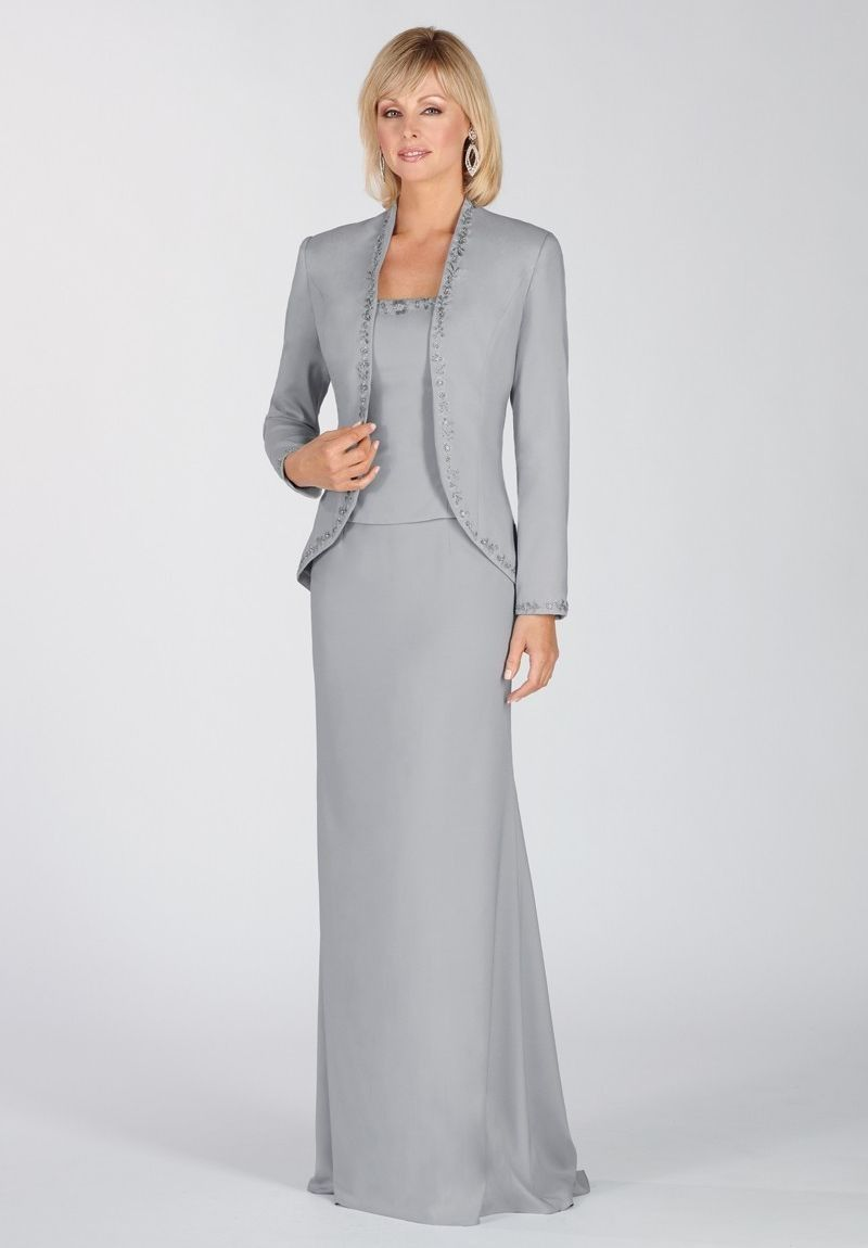 Mother of the bride long dresses with jackets evening gown
