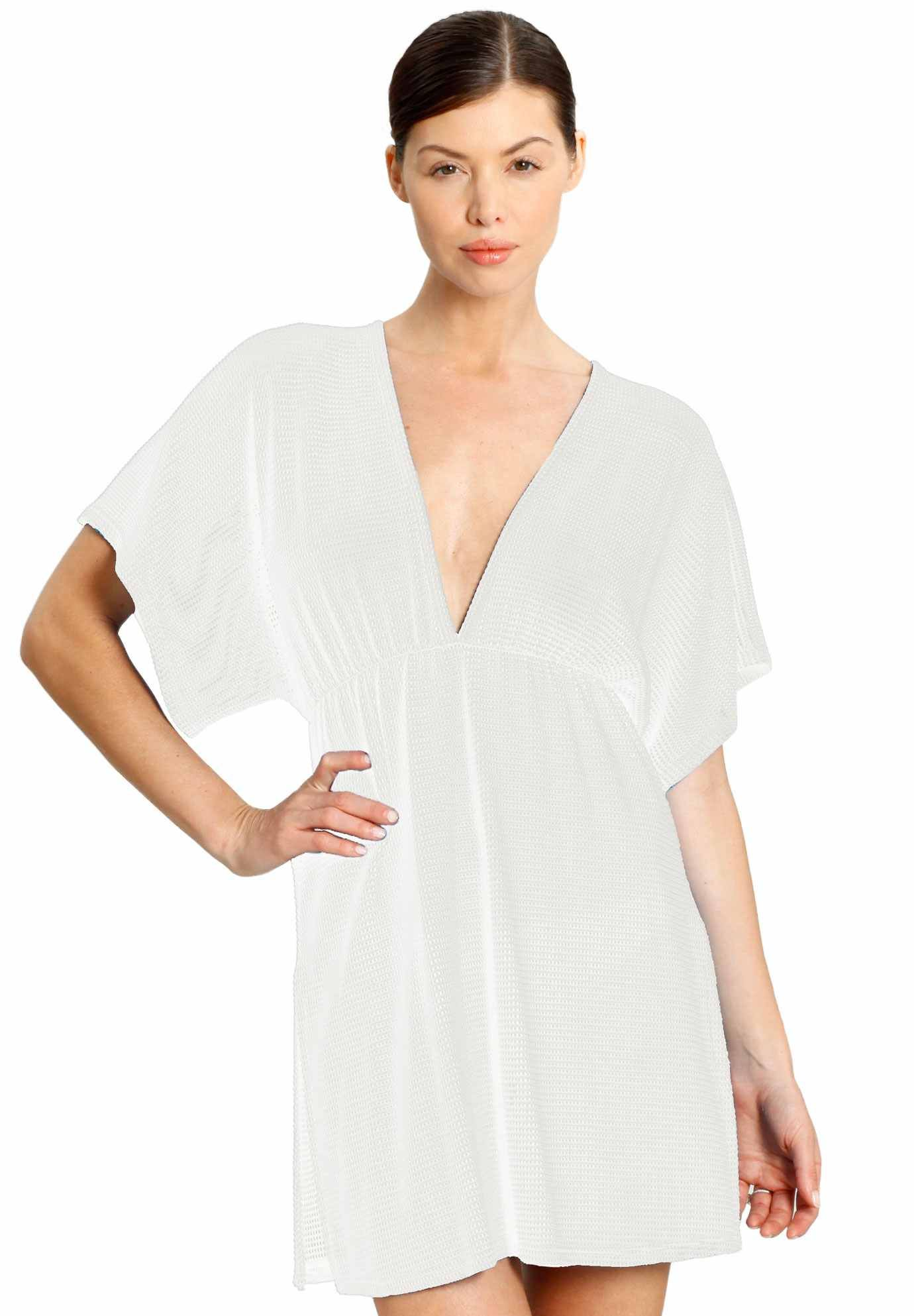 5f4c7ce16367 Gofret Dolman Sleeve V-Neck Tunic by Jordan Taylor in white.  56 at  Romans.com rd47277