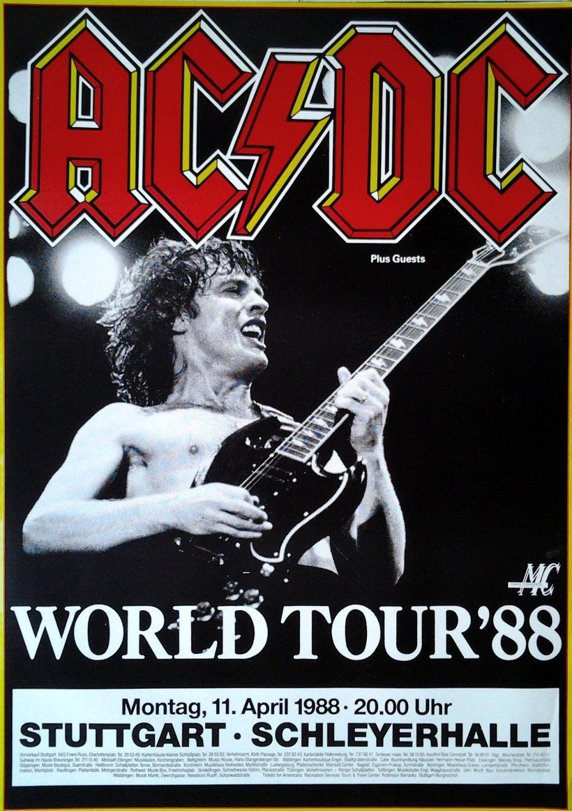 Mymindlostme Ac Dc 1988 World Tour Concert Poster Germany Special Guest Dokken April 11 1988 Music Concert Posters Concert Posters Vintage Concert Posters