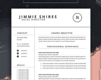 Resume Word Template Free 4 Pack Cv Template  Free Cover Letter For Ms Word Resume