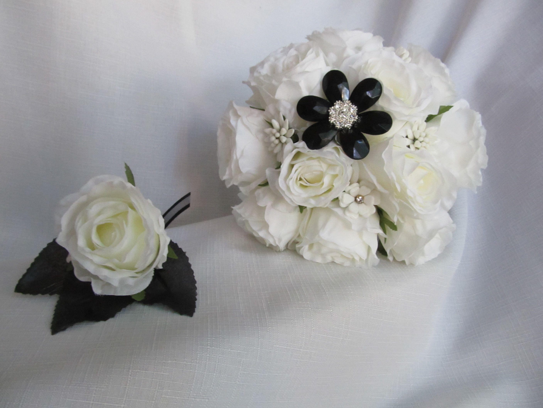 Black and white silk flower bridal set