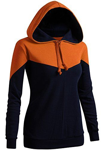 e9f6559d1b6b CLOVERY Women s Color Contrast  Long Sleeve Hoodie ORANGE... https ...