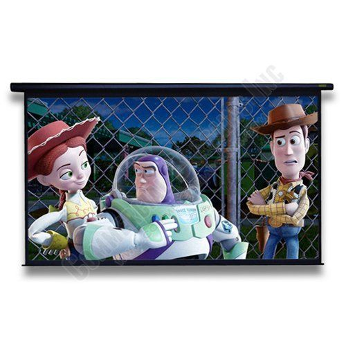 """120"""" Motorized Projector Projection Movie Screen 104""""x58"""" Black Case White Matte by Royalvision. $199.98. Brand New 120"""" 16:9 HDTV Projection ScreenIdeal Projection screen for home theater movies, office presentations, or classroom teaching. Perfect for all Projectors especially HD. 120"""" diagonal gives you a large 104"""" x 58"""" viewing area. Light weight design offers easy mounting to any wall or ceiling, also extra clearance for ceiling valances. Wired cord with ..."""