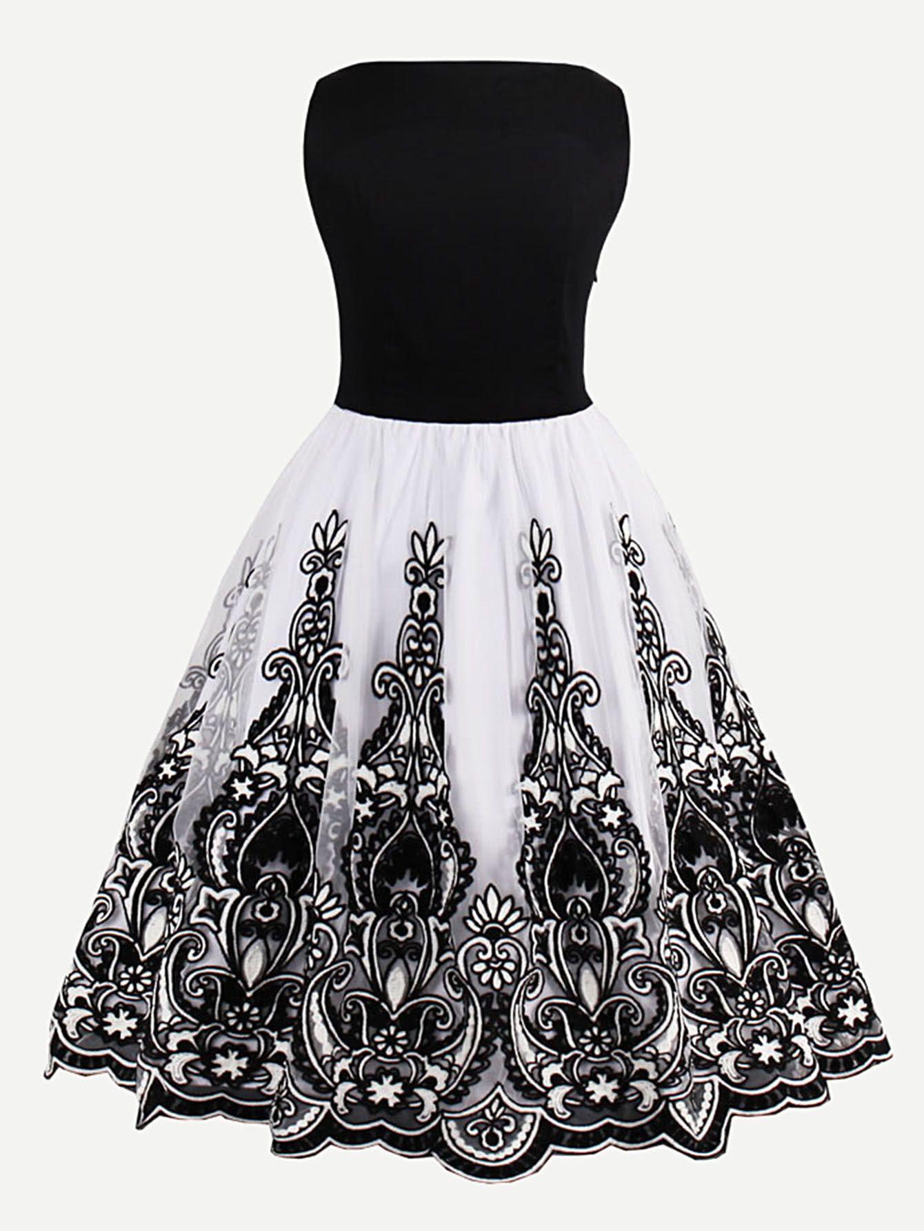 Kleid mit Blumen Stickereien und Netz   Pinterest   Netz, Stickerei ...