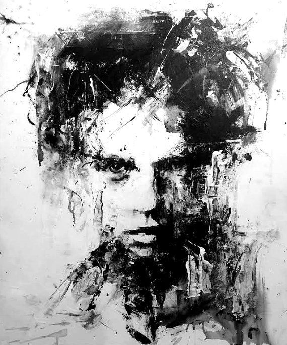Original Acrylic Painting Black And White Art Figure Modern Home Decor Woman Face Wall Hanging Contemporary