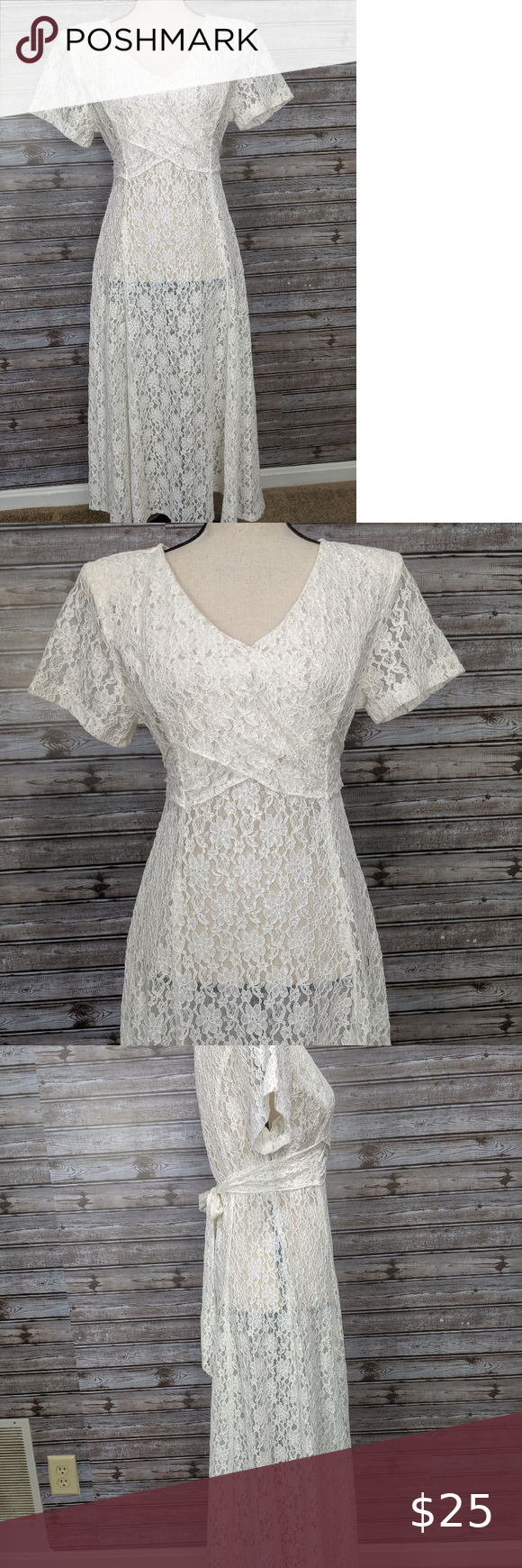 Vintage Lace Dress Beautiful Midi Length Off White Lace Dress Small Shoulder Pads Zips Up The Side And Ti Lace Dress Vintage Off White Lace Dress Lace Dress [ 1740 x 580 Pixel ]