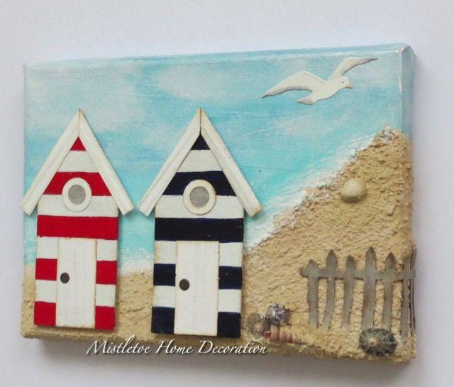 Mini mixed media canvas with sea, beach huts and seagull