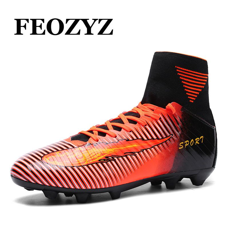 FEOZYZ 2017 New Brand High Ankle Football Boots Outdoor Kids Mens Football  Shoes FREE FLEXIBLE Soccer a64e6ddc0dba2