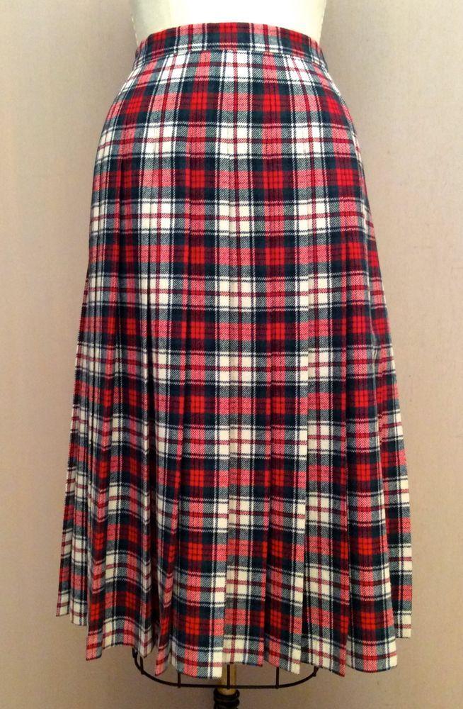 66cffe7e1d Pendleton Macduff Dress Tartan Virgin Wool Pleated Skirt Rockabilly Preppy  12 #Pendleton #Pleated