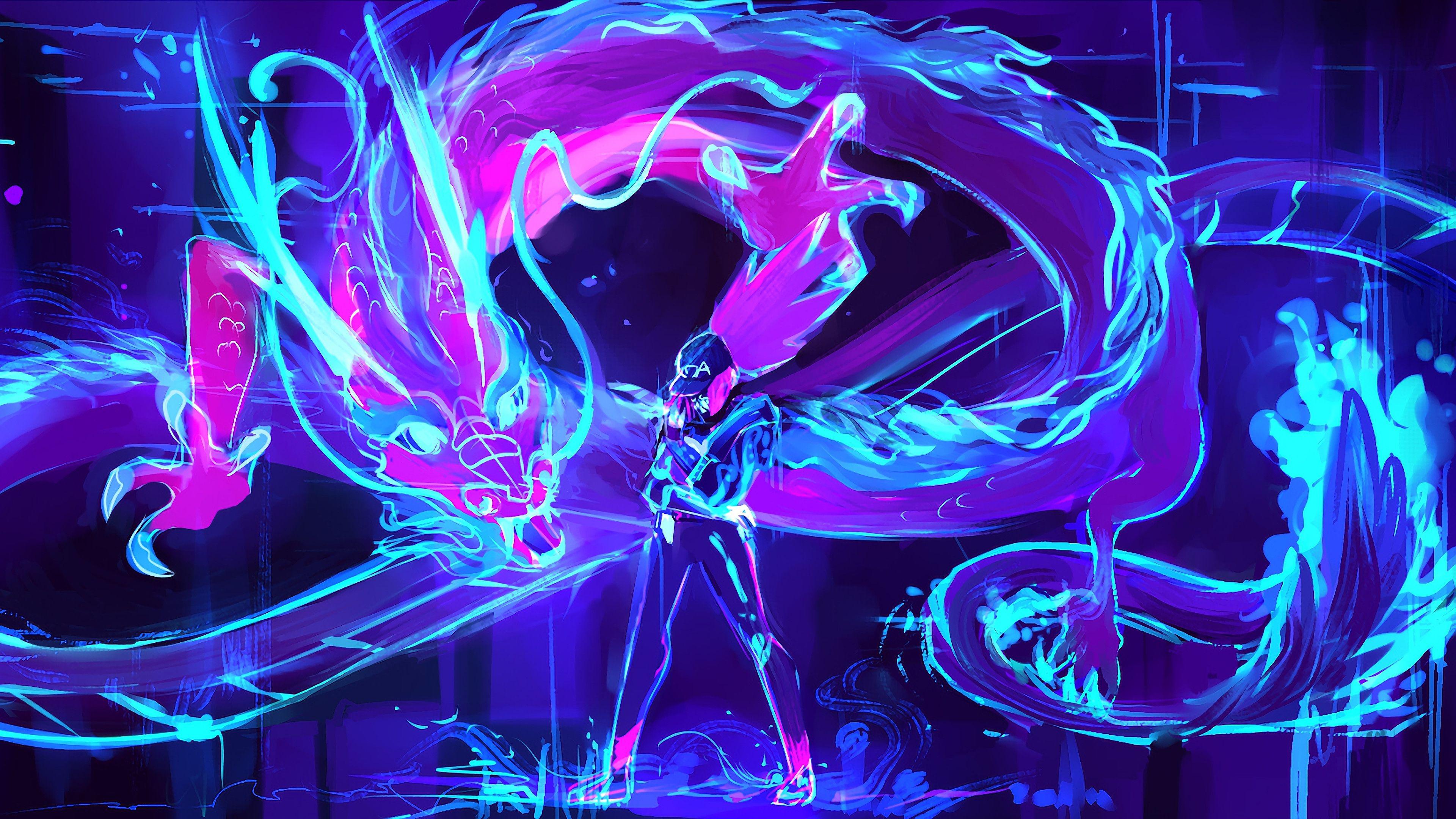 Kda akali neon dragon league of legends lol 4k 26391
