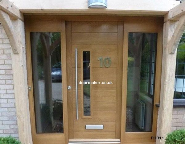 Contemporary front door fhb clear sidelights new house for Front door and side panel