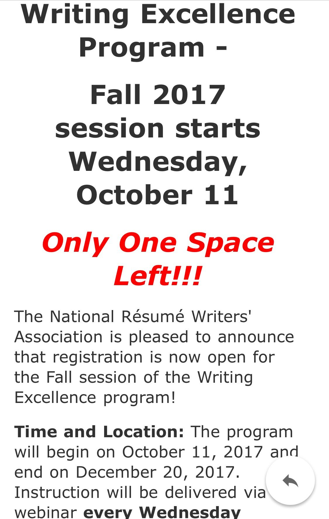 Only one seat left in our Writing Excellence