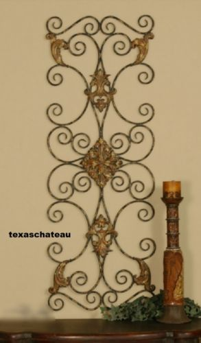 Tuscan Metal Wall Art large-tuscan-decor-scroll-wrought-iron-metal-wall-grille-grill