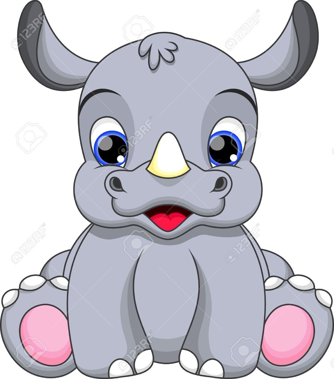Stock Vector Cartoon baby animals, Baby cartoon, Baby rhino