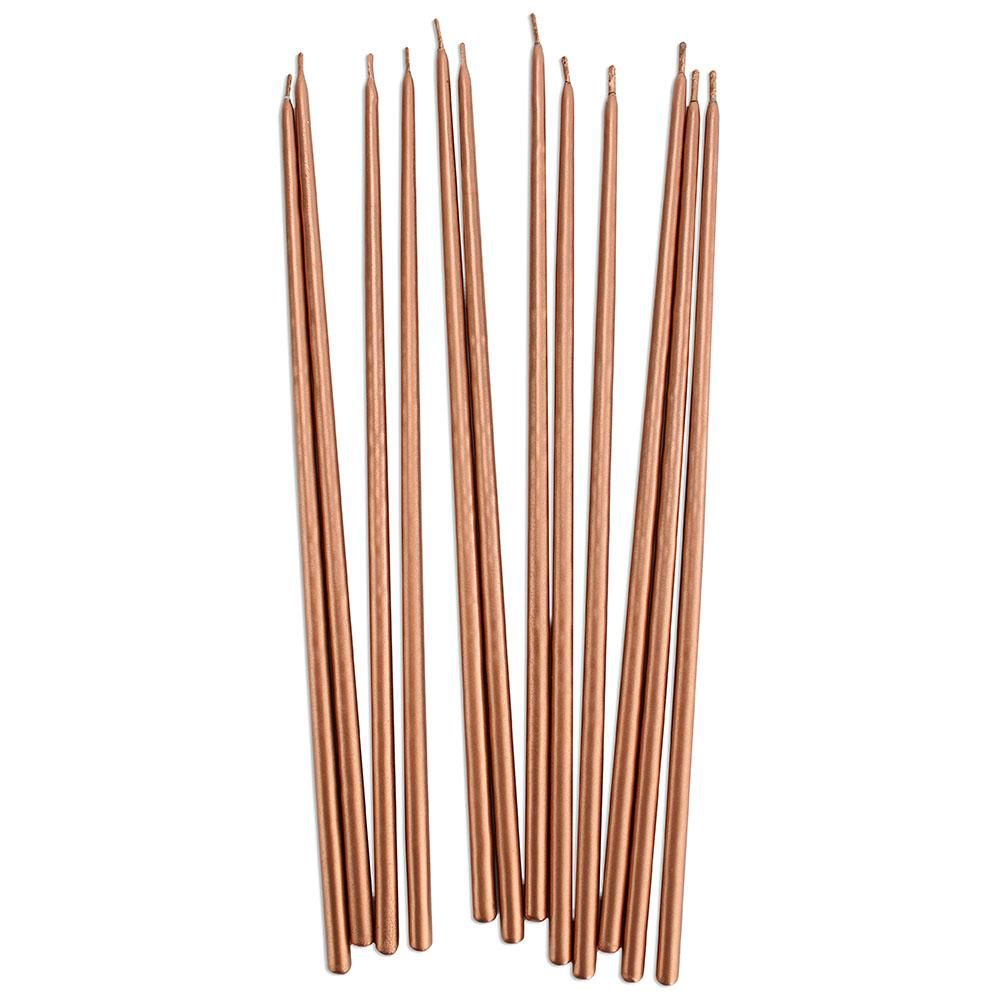 Tall Rose Gold Hand Dipped Birthday Candles