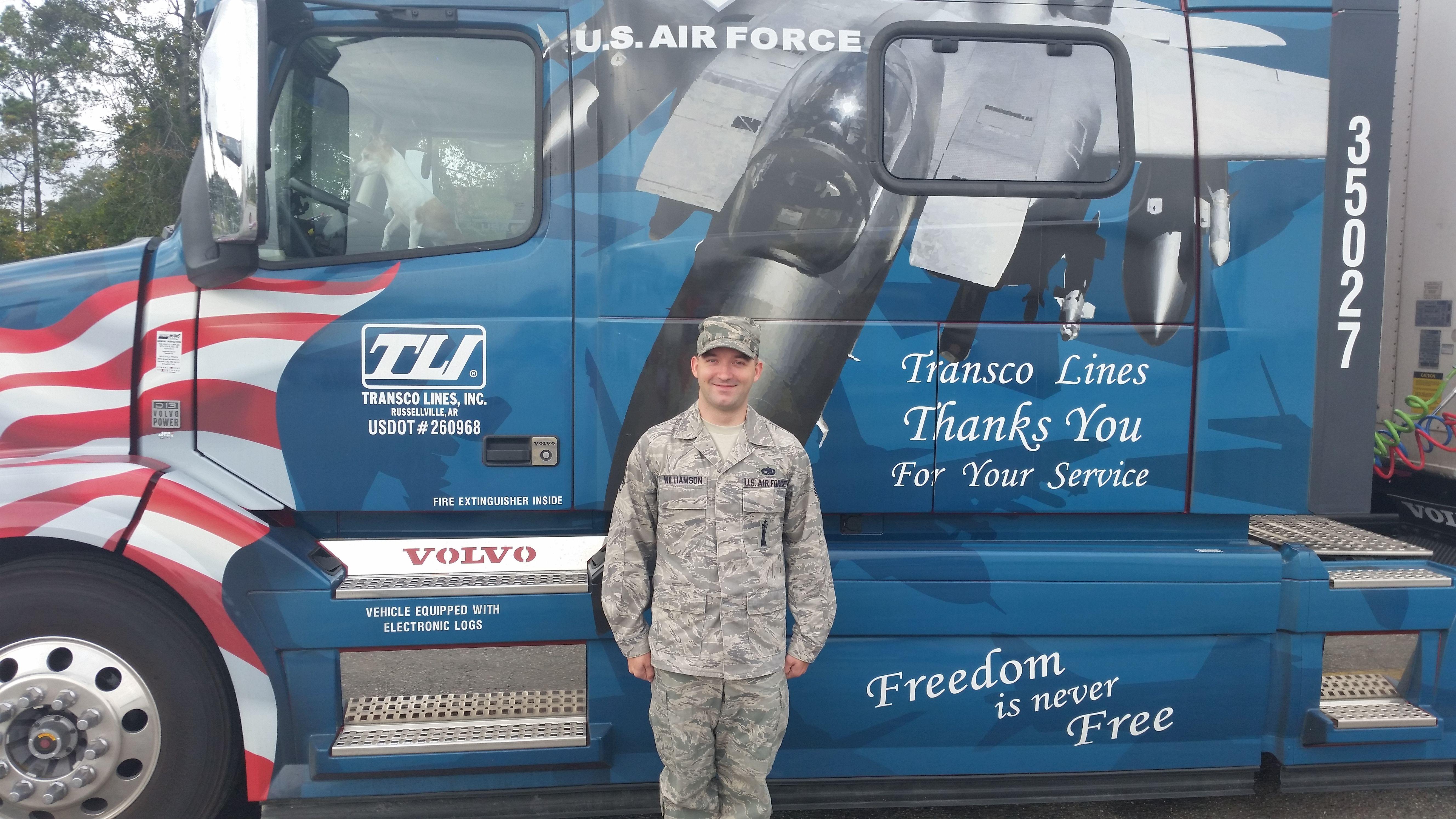 TLI Air Force Volvo truck honoring military veterans