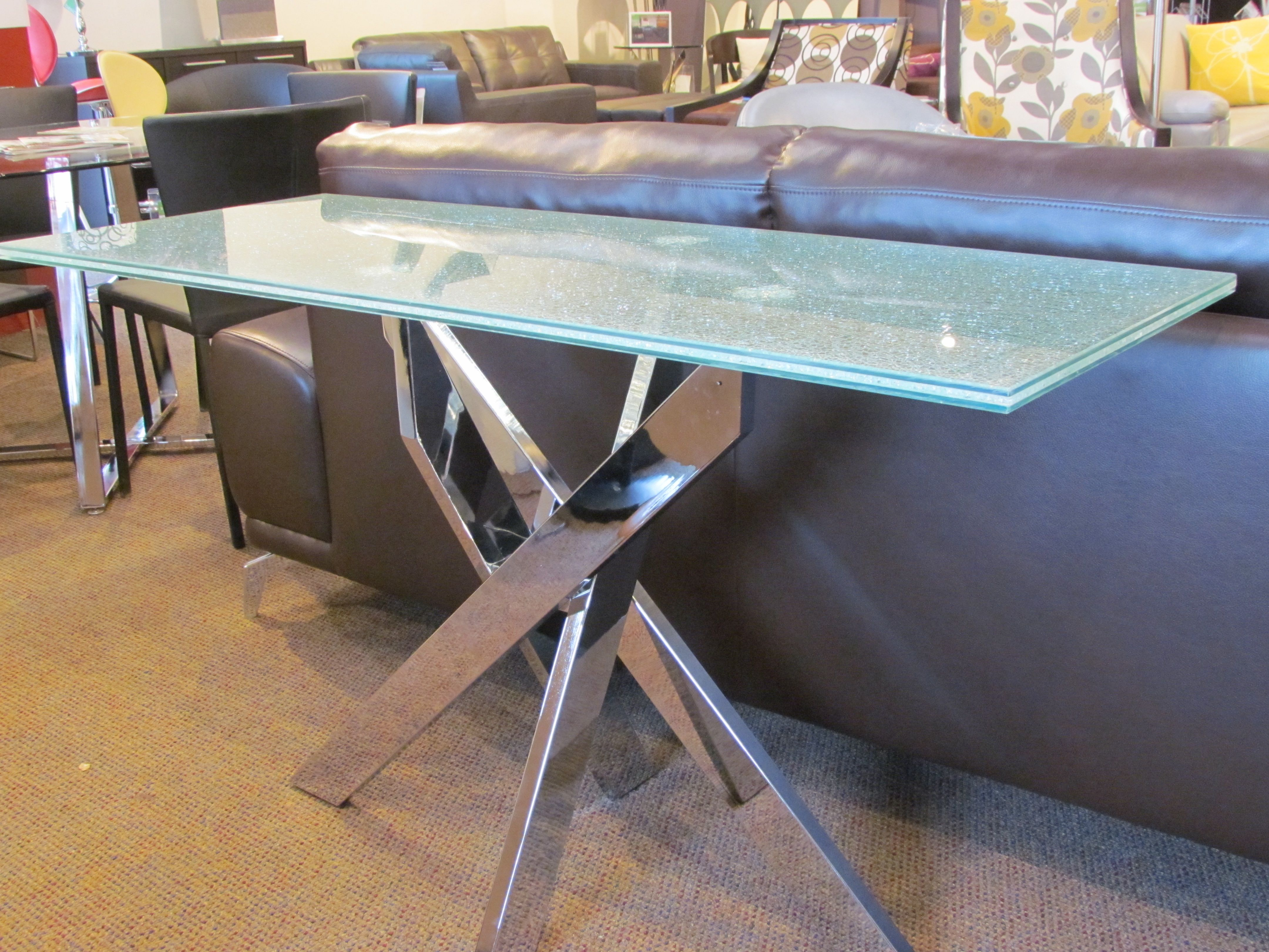 Stance Console Table W Cracked Glass Look Contemporary Home Office Furniture Contemporary Home Office Home Office Furniture [ 3240 x 4320 Pixel ]