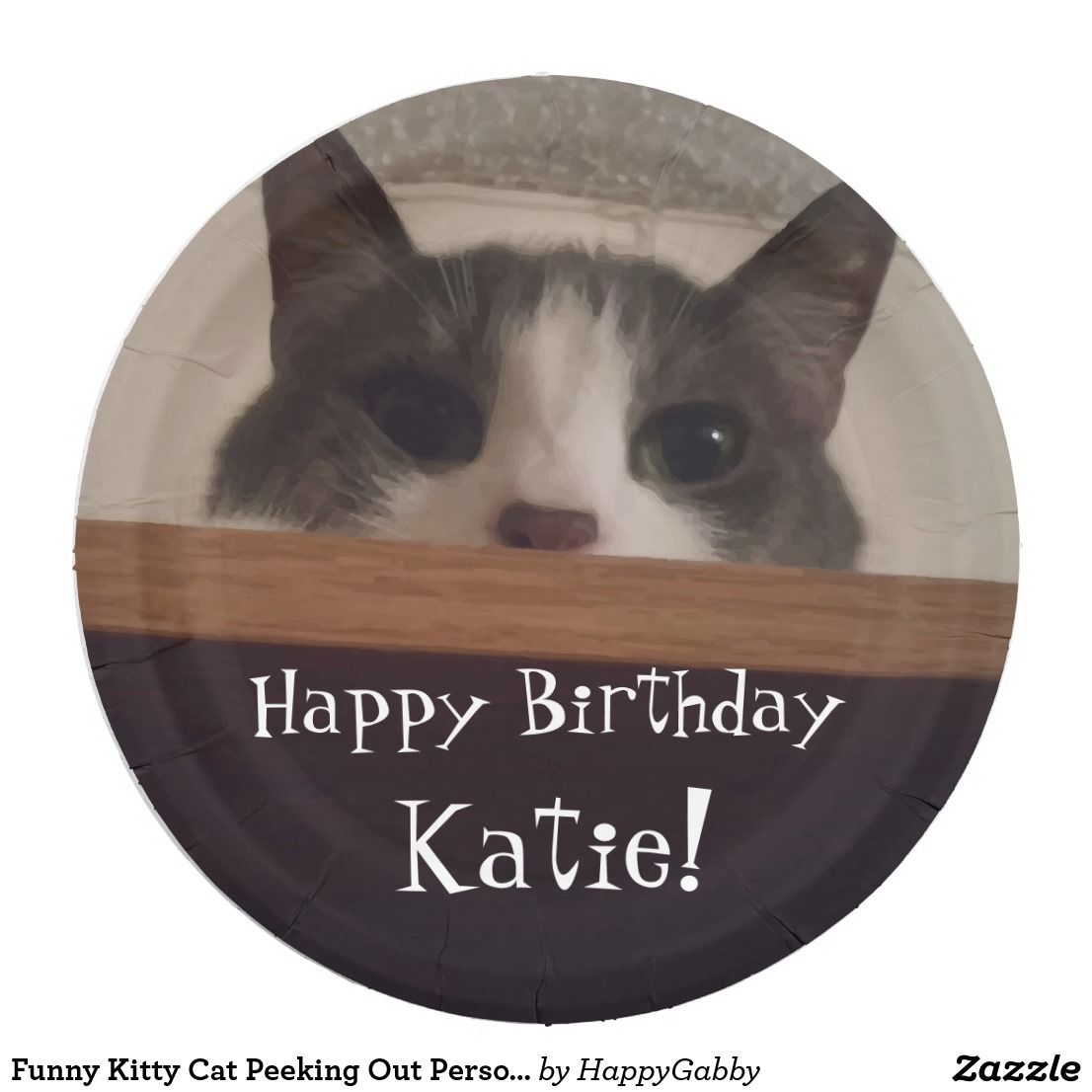 Funny Kitty Cat Peeking Out Personalized Birthday Paper Plate  sc 1 st  Pinterest & Kitty Cat Peeking Out Personalized Birthday Paper Plate