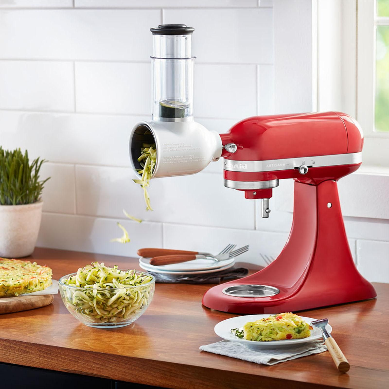 The Kitchenaid Fresh Prep Slicer Shredder Attachment Quickly And Easily Attaches Directly To The Power Hub Of Kitchen Aid Versatile Kitchen Kitchen Necessities
