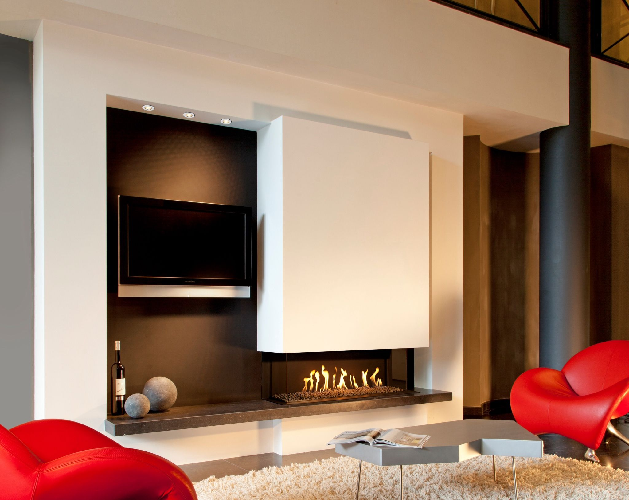 Lareira moderna chimeneas pinterest estufas for Estufa hogar moderna