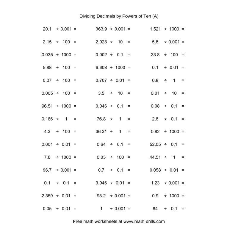 Decimals Worksheet -- Decimal Divided by 0001 to 1000 (horizontal - horizontal multiplication facts worksheets
