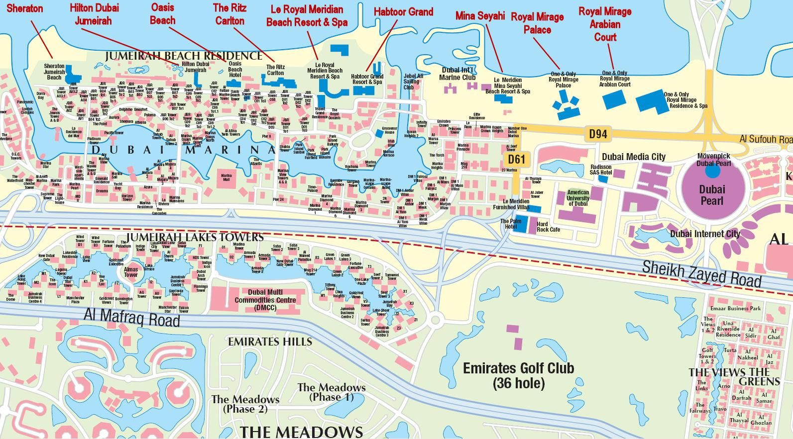 Hotels map of dubai consists of a detailed map of dubai for Dubai hotels list