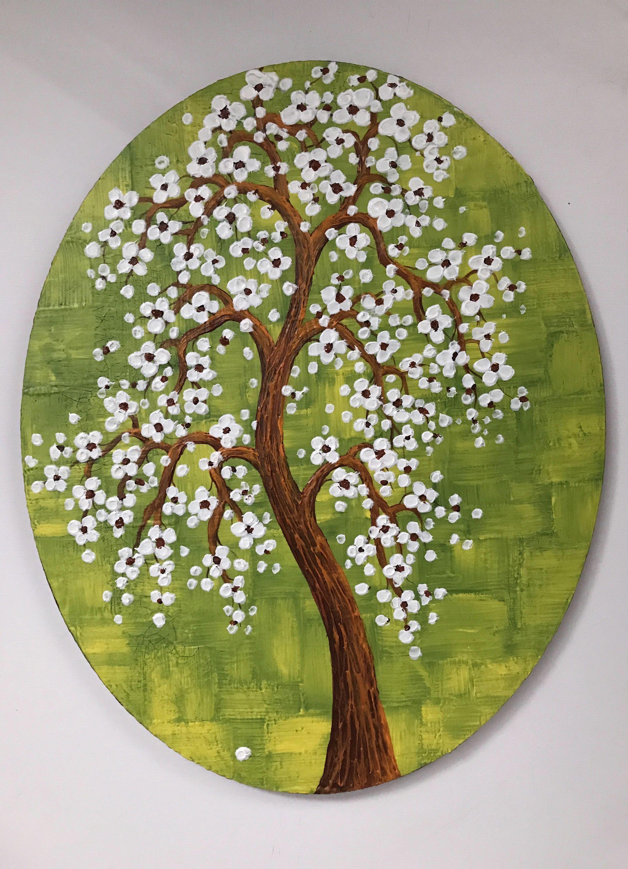 White Cherry Blossom Tree Painting Original Fine Art Treespainting Rock Painting Patterns Round Wall Art Painted Rocks Diy