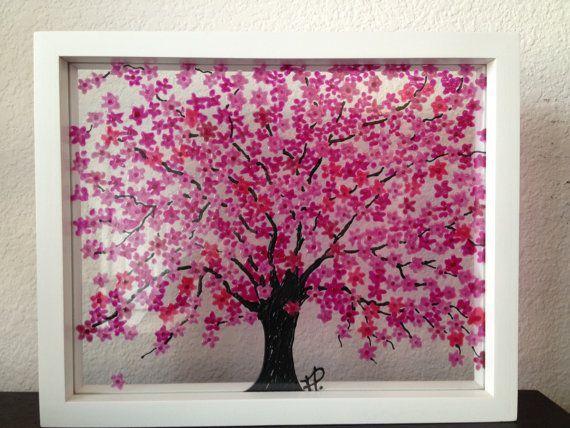Cherry Blossom Tree Glass Painting Pink Cherry Blossom Tree Cherry Blossom Art