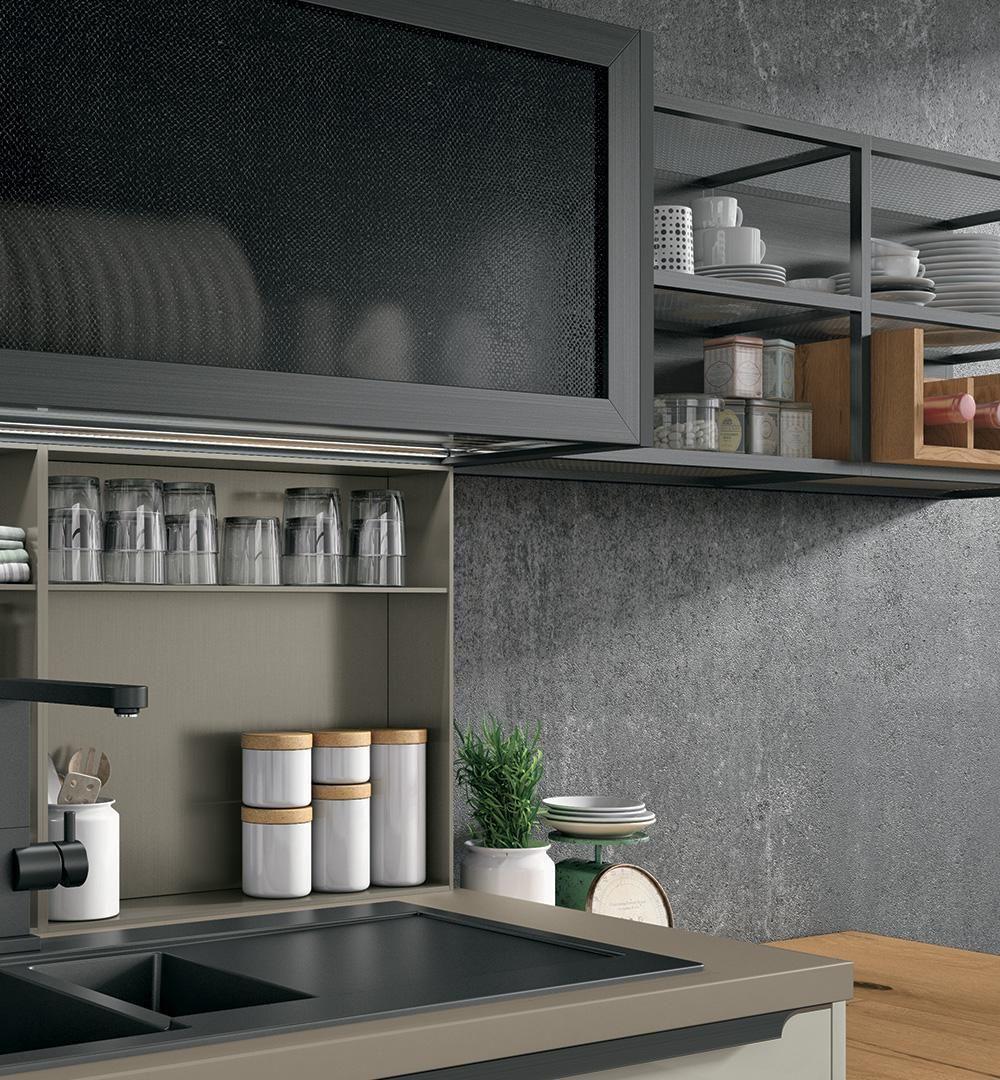 Cucine moderne piccole, idea con mensole a vista in legno e top in legno lucido. Pensile Mensola Oltre Bridge Cucine Lube Kuhnya Italyanskaya Kuhnya Dizajn Proekty
