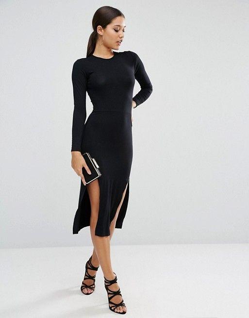Midi bodycon dress split