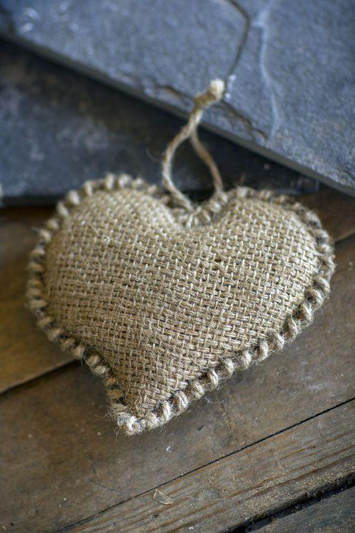 Burlap Heart Ornament