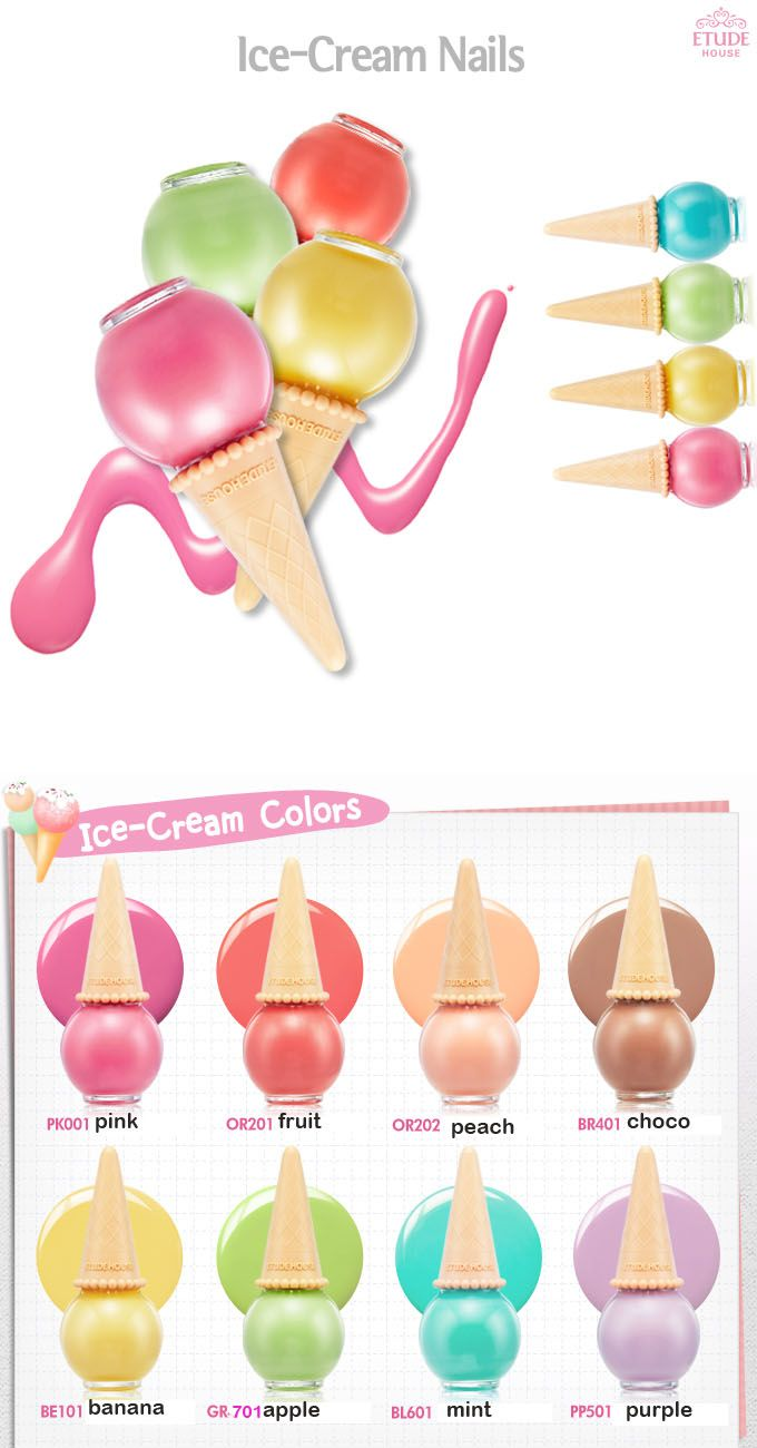 NEW Etude House Sweet ice cream Nail polish cute pastel manicure