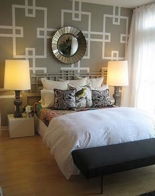 Geometric triangle wall paint design idea with tape - Wall painting ideas for bedroom ...