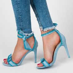 Light Blue Suede Tie Ankle Strap Heels Sandals